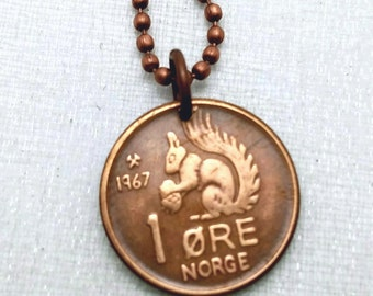 Coin Jewelry - Vintage 1967 SQUIRREL COIN from Norway - 51st - coin necklace - squirrel necklace - squirrel jewelry - acorn - coin pendant