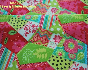Cotton Fabric - Bright Color Patchwork - 1 yard - Handmade on show
