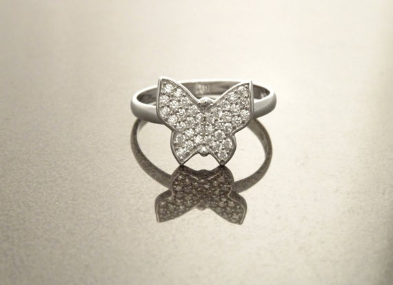 Butterfly Diamonds Ring, Sterling Silver, Lab Diamonds, Cluster Ring, Micro Pave Ring, Pave Set Ring, Valentines Day Gift, Mothers Day Ring