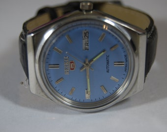 Vintage genuine seiko 5 automatic  day/date  men's Watch Made Japan (free shipping)