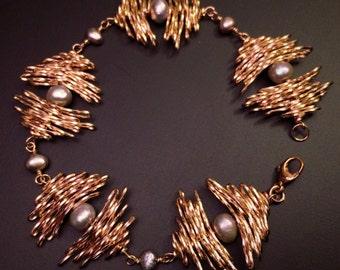Gold Bramble Bracelet, Pearl Bracelet, June Birthday Gift for Her, Gold Bracelet, Statement Jewelry, Contemporary Jewelry