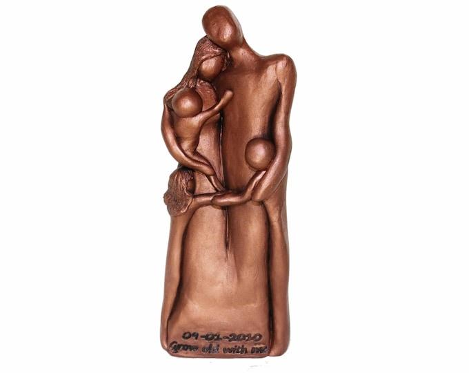 7th Anniversary Family Portrait, Copper Anniversary Gift, Gift for Her, Gift for Him, 7 Year Anniversary Gift, Cold-Cast Copper