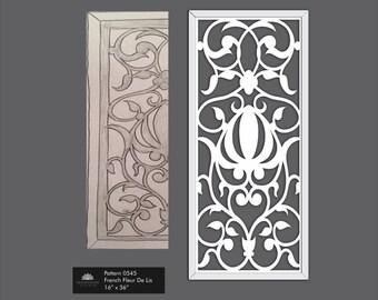 French Farmhouse Fleur De Lis Fretwork Art for decoration in Shabby Chic Distressed White  0543