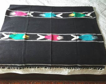 "Mexican Fish Blanket / black Southwestern / 1980s / 78"" x 46"" / saddle throw"
