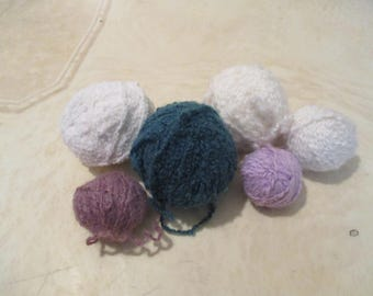 set of 6 balls of wool chenille of various colors