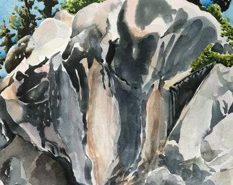 Original watercolor, New Mexico Bluff, on location