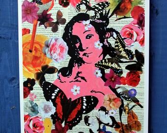 Venus, Birth of Venus A3 print, Butterflies, Botticelli, Flowers
