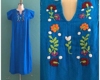 vintage 70's blue cotton kaftan // embroidered lounge dress // muu muu