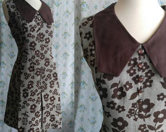 1960s mod floral collared dress