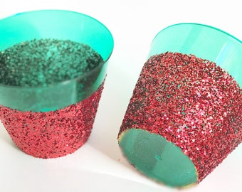 Red and Green Glittered plastic cups, Holiday Party Decor, Red & Green Glitter Cups, Christmas Party Cups, Holiday party cups, Festive cups