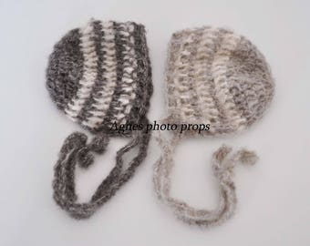 Newborn twin bonnets, mohair stripes bonnet, newborn photo props, twins prop, mohair bonnet, grey bonnet, photography prop