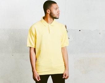Yellow Fila Polo Shirt . Vintage Unisex Mens Yellow T-Shirt Minimalist Top Mens Sports T-Shirt Retro Cotton T-Shirt . size XL Extra Large