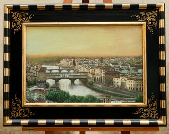 Florence, oil painting on canvas with frame, Florence painting with frame