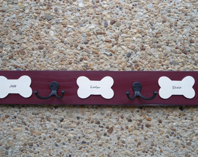 dog leash collar harness hooks personalized dog lovers custom leash hangers dogs names BeachHouseDreamsHome Outer Banks