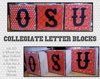 Collegiate Letter Block Set - Your School of Choice