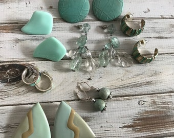 Lot of seven sea foam or mint green blue pierced earrings vintage 80s earrings lot aqua earrings
