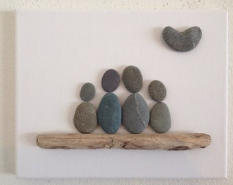 Pebble art/ Family of four/ Heart shaped rock/ driftwood/ Canvas Art/ Big Sur California