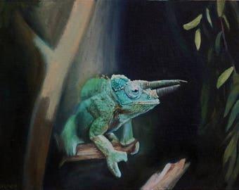Chameleon (oil painting, 2016)