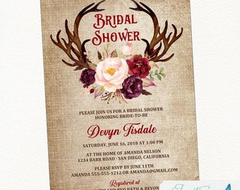 Blush Burgundy Antler Bridal Shower Invitation, Rustic Bridal Shower, Country Bridal Shower, Boho Bridal Shower, floral bridal shower invite