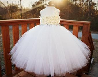 Shabby Chic Flower Girl Tutu Dress in Ivory and White