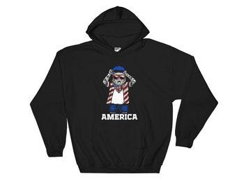 Cat sweater cat hoodie Cat shirt cat shirts cat lady gifts - cat bandana America Hoodie