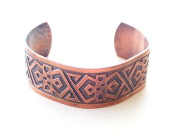 Men's Copper Cuff, Vintage Wide Copper Cuff, Tribal Cuff, Tribal Copper Bracelet, Unisex Copper Cuff Bracelet
