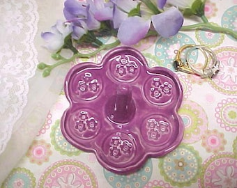 Fuchsia Violet | Flower Shape Ring Dish with Stamped Tiny Flowers | Ready to Mail