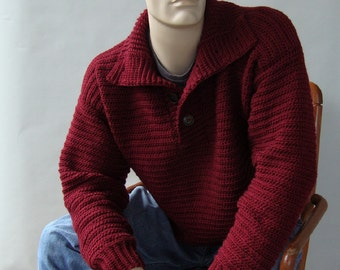 Men's Sweater, Men's Wool Sweater, Maroon Sweater, Pullover, Optional Funnel Neck, Men's Crochet Sweater, Gift for Him, Available in  XL