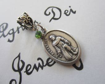 St Peregrine Medal & Lt Green Glass Charm Pendant, Patron Saint for Cancer and AIDS Patients, Religious Gift