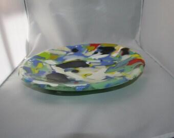 Scrap grand bol en verre - réalisé sur commande avec des couleurs aléatoires