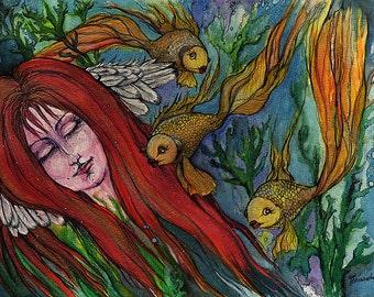 Ein Engel und die Goldfische original Tinte und Aquarelle zu malen
