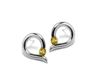 Teardrop Shaped Yellow Topaz Stud Earrings Tension Set in Steel Stainless