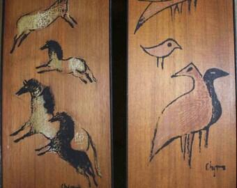 Mid century ancient inspired cave painting original Artwork pair