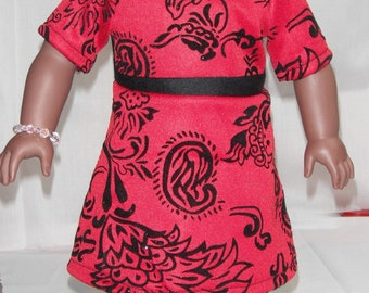 """Short sleeve Dress red & black flocking invisible zipper 18"""" Doll Clothes"""