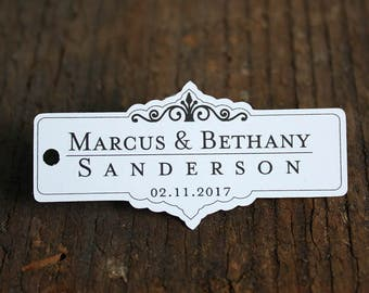 Small  Fancy Wedding Favor Tag, Personalized Gift Tags or Shower Favor Tags, Custom Labels, Custom Gift Card