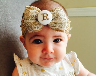 Burlap Lace, Monogram Initial, Custom Hair Bows, Baby Infant, Christmas, Rustic Country, Wedding Gift, Small Ribbon, Lacey Pageant, Barn Bow