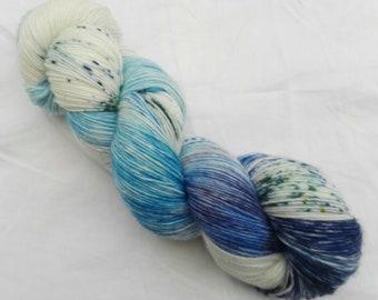 Hand dyed sock yarn sockweight singles 100% merino Blues