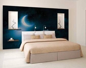 Wall Mural Night, Wall Mural Moon, Sky Wall Mural, Wallpaper Night, Sky Wall Decal