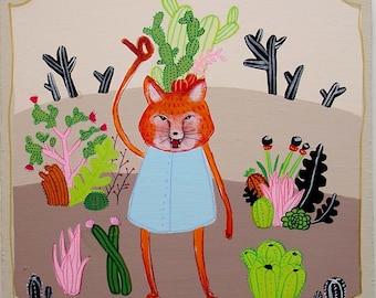 the Fox and Cactus - ORIGINAL PAINTING