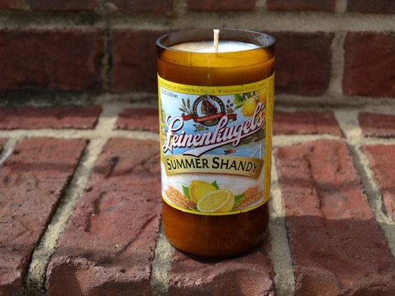 Leinenkugel's Summer Shandy beer bottle candle made with soy wax
