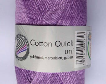 Grundl Cotton Quick uni lilac 50g mercerised 100% cotton yarn colour no.87
