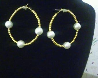 14k Gold plated bead hoop earrings