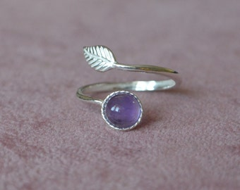 Sterling Silver Adjustable  Feather Wrap Ring, Amethyst Feather Ring, Gemstone Feather Ring