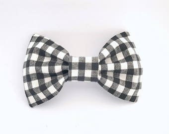 Black and White Gingham Bow Tie Hair Clip