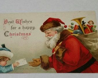 Antique Postcard Signed Ellen Clapsaddle Girl Giving Letter to Santa