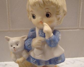 Vintage Little Girl & Kitten in Basket Figurine - Adorable!!