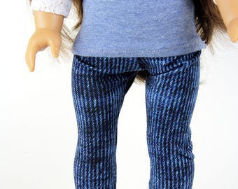 Fits like American Girl Doll Clothes - Bright Denim Blue Jeggings   18 Inch Doll Clothes