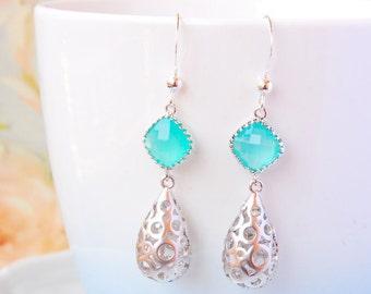 Mint Green Earrings Silver Filigree Drop Earrings Mint Green Wedding Earrings For Bride Mint Seafoam Earrings Mint Bridal Jewelry
