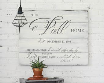 Family Established Sign - Personalized Sign - Wedding Gift - Anniversary Gift - Farmhouse Sign - Housewarming Gift - Christian Decor