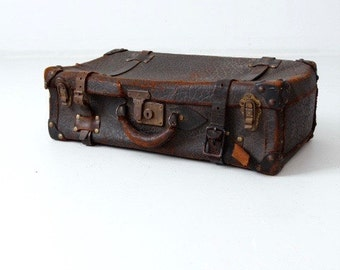 vintage leather suitcase, thick hide black luggage